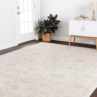 Fine Antique Inspired Ivory Distressed Floral Area Rug - 12' x 15'