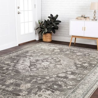 "Fine Antique Inspired Grey/ Beige Distressed Medallion Area Rug - 9'2"" x 12'2"""