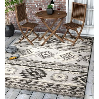 """Well Woven Modern Geometric Southwestern Indoor Outdoor Area Rug High-Low Pile Carpet - 7'10"""" x 9'10"""""""