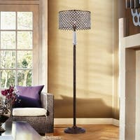 Garvan Rustic Bronze 1-Light Floor Lamp with Crystal Shade