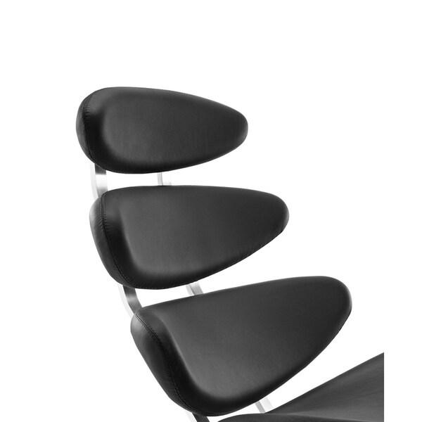 Mid Century Modern Karona Style Lounge Chair  Half Leather