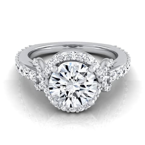 1 1/10ctw Round Diamond Engagement Ring With Love Knot Shank In 14k White Gold - Size 3.50