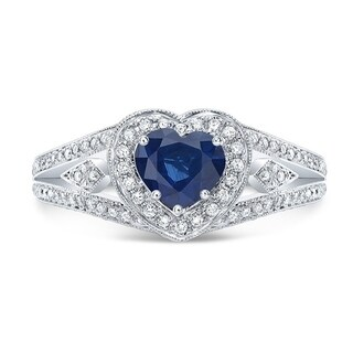 Sapphire And Diamond Heart-shape Halo Ring With Split Shank And Millgrain Detail In 14k White Gold (6mm)