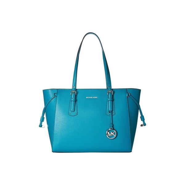2e5ba82b4452 Shop MICHAEL Michael Kors Voyager Medium Top Zip Tile Blue Tote Bag ...