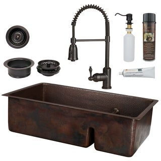 Premier Copper Products - KSP4_K70DB33199-SD5 Kitchen Sink, Faucet and Accessories