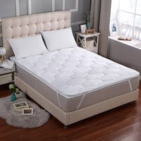 Cheer Collection 3D Air Mattress Topper with Elastic Bands - White
