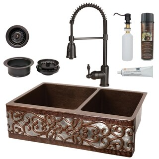 Premier Copper Products - KSP4_KA60DB33229S-NB Kitchen Sink, Faucet and Accessories