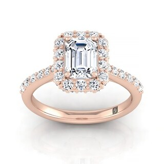 Emerald Cut Diamond Halo Engagement Ring With Pave Shank In 14k Rose Gold (2/3 Ct.tw.)