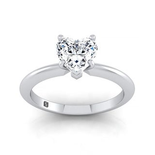 Heart Shape Diamond Solitaire Engagement Ring With Ultra Thin Knife Edge Shank In 14k White Gold