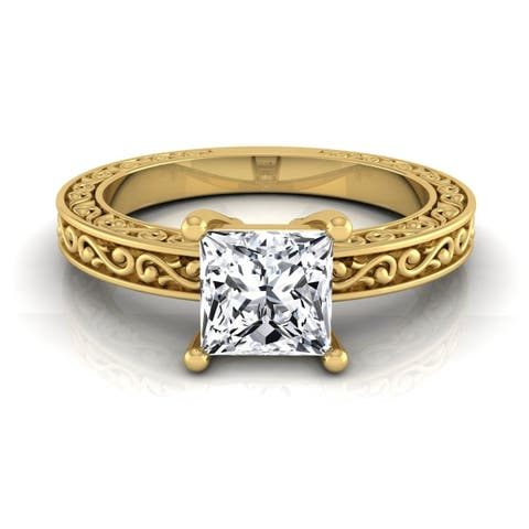1/2ct Princess Cut Diamond Solitaire Engagement Ring With Scroll Detail Shank In 14k Yellow Gold