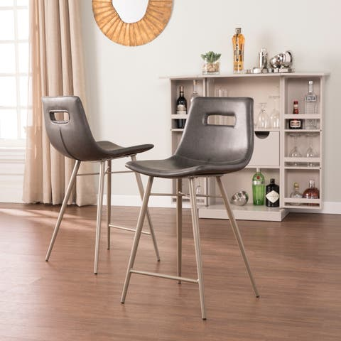 Harper Blvd Black Faux Leather Upholstered Counter Stool 2pc Set