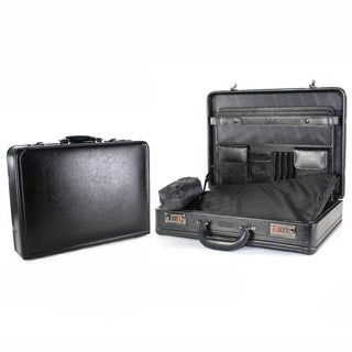 Kenneth Cole Reaction Genuine Manhattan Leather Expandable 17in Laptop Attache Business Case With Combination Snaplock