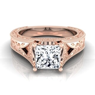 1/2ct Princess Cut Antique-inspired Engraved Diamond Engagement Ring With Millgrain Finish In 14k Rose Gold