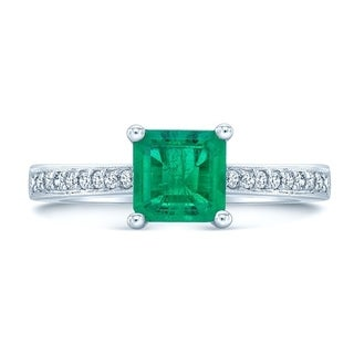 Emerald And Diamond Ring In 18k White Gold