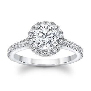Diamond Round Halo Ring In 14k White Gold