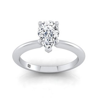 Pear Shape Diamond Solitaire Engagement Ring With Ultra Thin Knife Edge Shank In 14k White Gold