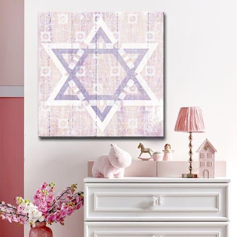 Ready2HangArt Inspirational 'Star of David II' Wrapped Canvas Judaica Wall Art - Pink