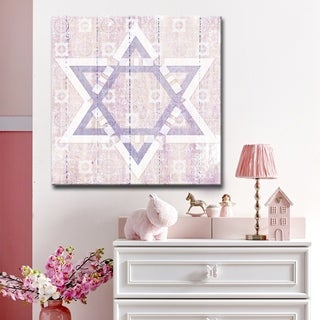Ready2HangArt Inspirational 'Star of David II' Wrapped Canvas Judaica Wall Art - Pink