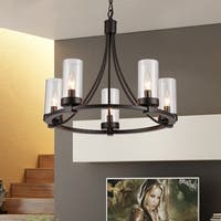 Newton Black 5-Light Pendant with Glass Shade