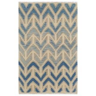 Handmade One-of-a-Kind Wool Kilim (Afghanistan) - 3'11 x 6'1