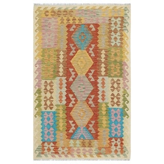 Handmade One-of-a-Kind Wool Kilim (Afghanistan) - 3'9 x 6'1