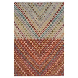 Handmade One-of-a-Kind Wool Kilim (Afghanistan) - 4'2 x 6'1