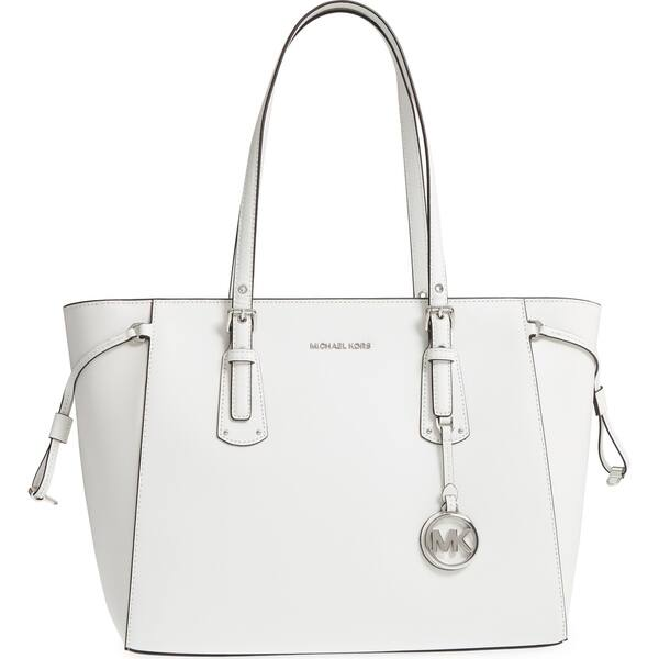 2dd8e7d5941 Shop MICHAEL Michael Kors Voyager Medium Top Zip Optic White Tote ...