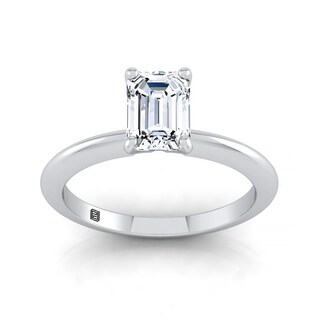 Emerald Cut Diamond Solitaire Engagement Ring With Ultra Thin Knife Edge Shank In 14k White Gold