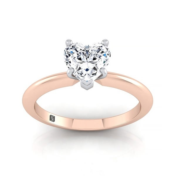b5cf3c6fc6 Shop Heart Shape Diamond Solitaire Engagement Ring With Ultra Thin Knife  Edge Shank In 14k Rose Gold - Free Shipping Today - Overstock - 22085059