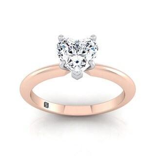 Heart Shape Diamond Solitaire Engagement Ring With Ultra Thin Knife Edge Shank In 14k Rose Gold