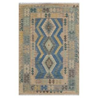 Handmade One-of-a-Kind Wool Kilim (Afghanistan) - 4' x 5'10