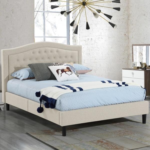 Shop Alma Beige Upholstered Platform Bed With Decorative