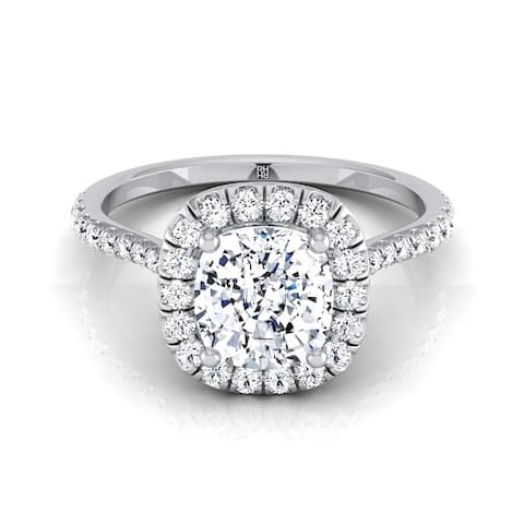 Cushion Cut Diamond Halo Engagement Ring With Pave Shank In 14k White Gold (3/8 Ct.tw.)