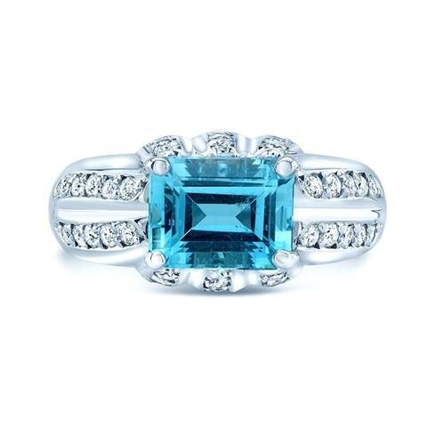 Aquamarine and Diamond Sideways Emerald Cut Ring in 18k White Gold