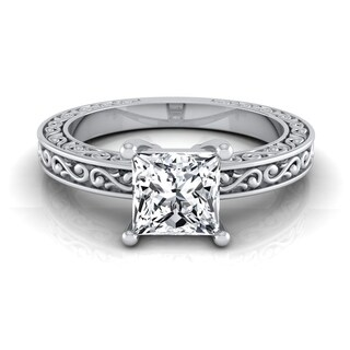 1/2ct Princess Cut Diamond Solitaire Engagement Ring With Scroll Detail Shank In 14k White Gold