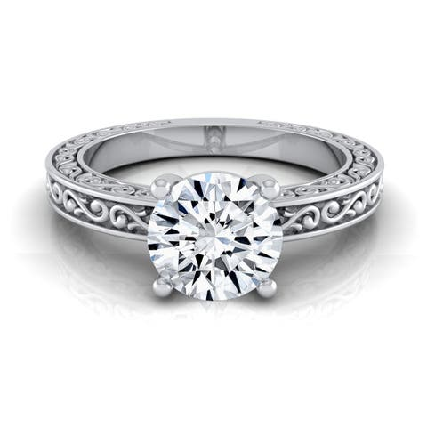 0.75ct Round Diamond Solitaire Engagement Ring With Scroll Detail Shank In 14k White Gold, Igi-certified