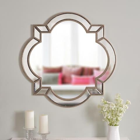 "Lorenzo 32"" Arabesque Champagne Wall Mirror - 32"" x 32"""