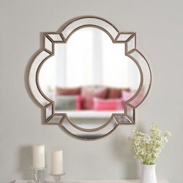 "Lorenzo 32"" Arabesque Champagne Wall Mirror - 32"" x 32"""