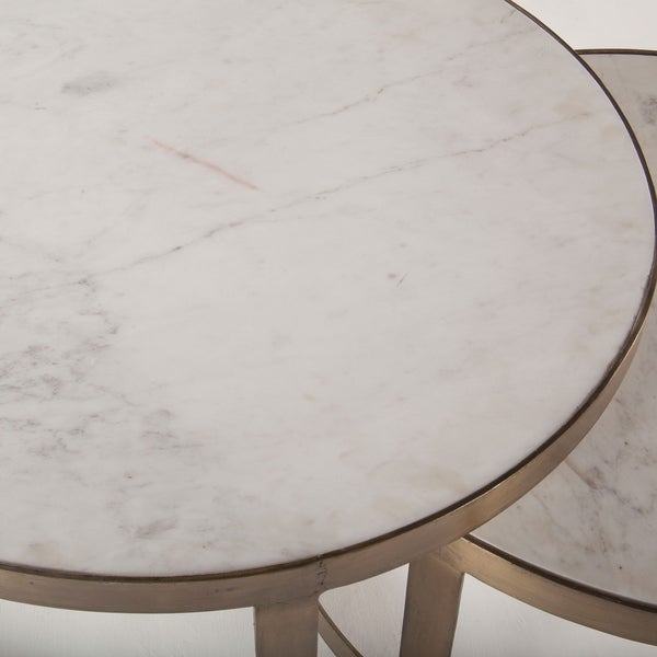 Marble Ayva Nesting Coffee Tables Set Of 2: Shop World Interiors White/Goldtone Marble 2-piece Nesting
