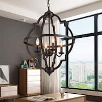 Octavia Brown 4-Light Pendant with Brown Shade