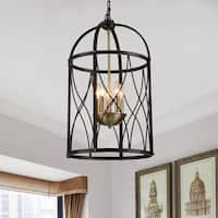 Darshan Black 5-Light Pendant with Clear Shade