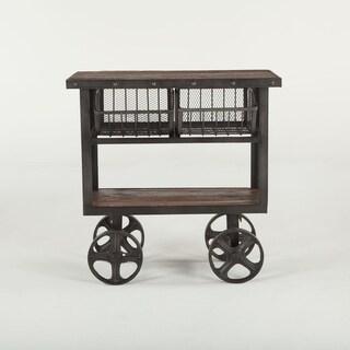 World Interiors Reclaimed Teak 36 Bar Cart Table