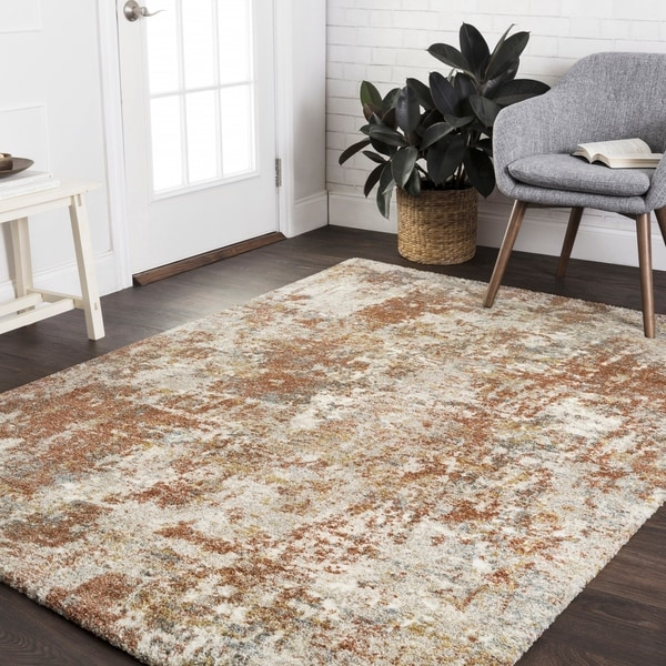 "Mid-century Rust/ Grey Abstract Rug - 8'10"" x 12'7"""