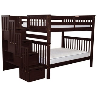 Bedz King Stairway Bunk Beds Full over Full with 4 Drawers in the Steps, Cappuccino