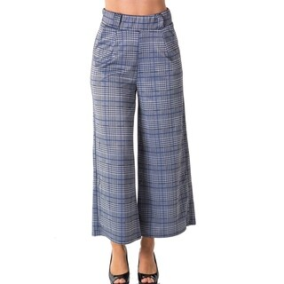 Ladies Casual Plaid Wide Leg Pants by Special One