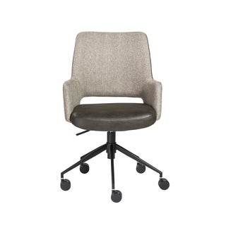 Desi Tilt Office Chair in Light Gray Fabric with Black Base