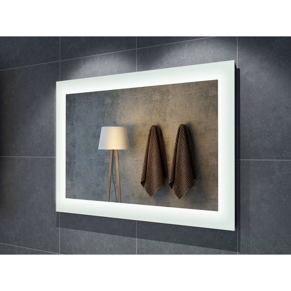 60 Salerno Illuminated Rectangle Led Mirror Clear 60 W X 1 5 D X 36 H Overstock 22087849
