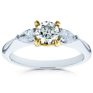 Annello by Kobelli 14k Gold 7/8ct TDW Light Fancy Yellow Round Brilliant and White Pear Diamond 3 Stone Pinched Shank Ring (4 options available)