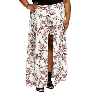Xehar Womens Plus Size Sexy Floral Print Long Maxi Skorts Skirt