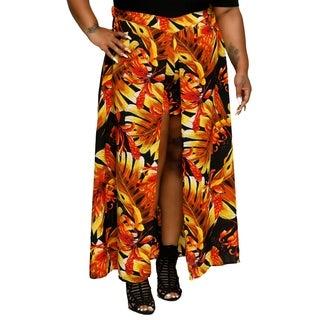 Xehar Womens Plus Size Sexy Leaf Print Long Maxi Skorts Skirt